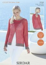 Sirdar Cotton DK Crochet Pattern - 7737 Sweater